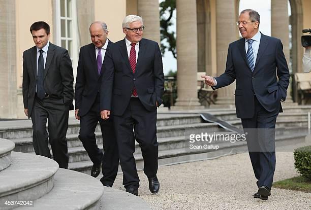Ukrainian Foreign Minister Pavlo Klimkin French Foreign Minister Laurent Fabius German Foreign Minister FrankWalter Steinmeier and Russian Foreign...