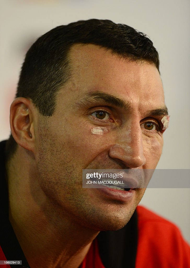 Ukrainian heavyweight boxing world champion Wladimir Klitschko attends a press conference after his fight against Polish boxer Mariusz Wach in the...