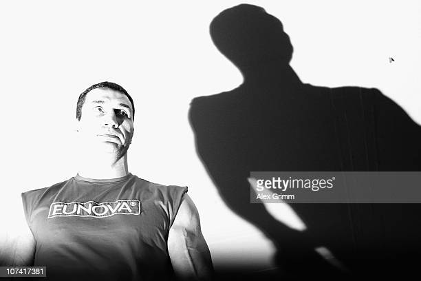 Ukrainian IBF IBO and WBO heavyweight champion Wladimir Klitschko pauses during a training session at the local Mercedes Benz branch on December 8...