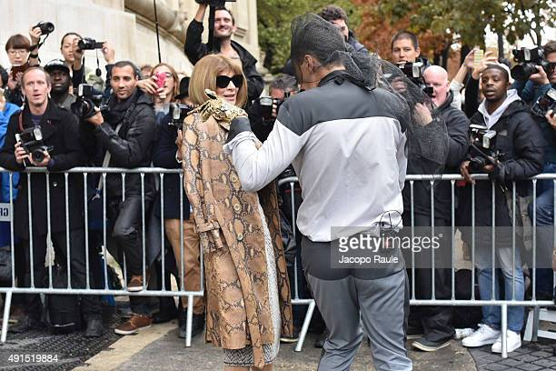 Ukrainian Journalist/ prankster Vitalii Sediuk target Anna Wintour at Chanel Fashion Show during the Paris Fashion Week S/S 2016 Day Eight on October...
