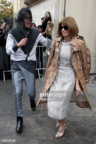 Ukrainian journalist/prankster Vitalii Sediuk targets Anna Wintour at Chanel Fashion Show during the Paris Fashion Week S/S 2016 on October 6 2015 in...