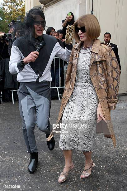 Ukrainian journalist/prankster Vitalii Sediuk targets Anna Wintour at the Chanel show as part of the Paris Fashion Week Womenswear Spring/Summer 2016...