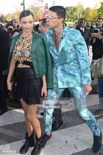 Ukrainian journalist/prankster Vitalii Sediuk targets model Miranda Kerr as she arrives to attend the Louis Vuitton show as part of the Paris Fashion...