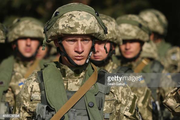 Ukrainian marines prepare to train in urban warfare techniques on the second day of the 'Rapid Trident' bilateral military exercises between the...