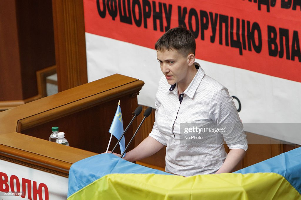 Ukrainian military, lawmaker of Ukrainian Parliament and member of Parliamentary Assembly of the Council of Europe Nadiya Savchenko, released from a Russian jail week ago, attends her first plenary at Verkhovna Rada, May 31, 2016. The adoption of the judicial reform bills is the main task of the plenary week, said Verkhovna Rada Speaker Andriy Parubiy.