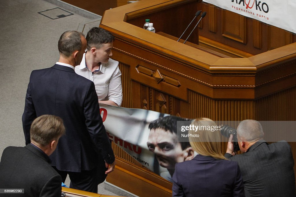 Ukrainian military, lawmaker of Ukrainian Parliament and member of Parliamentary Assembly of the Council of Europe <a gi-track='captionPersonalityLinkClicked' href=/galleries/search?phrase=Nadiya+Savchenko&family=editorial&specificpeople=13678531 ng-click='$event.stopPropagation()'>Nadiya Savchenko</a>, released from a Russian jail week ago, attends her first plenary at Verkhovna Rada, May 31, 2016. The adoption of the judicial reform bills is the main task of the plenary week, said Verkhovna Rada Speaker Andriy Parubiy.