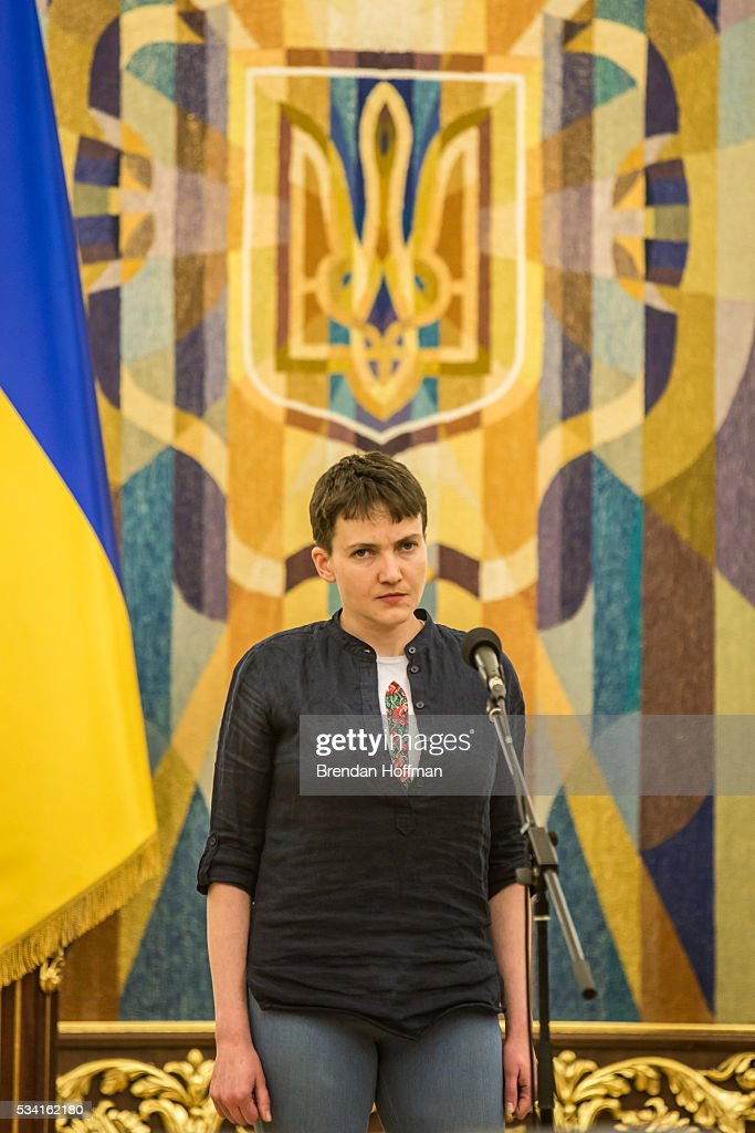 Ukrainian military pilot <a gi-track='captionPersonalityLinkClicked' href=/galleries/search?phrase=Nadiya+Savchenko&family=editorial&specificpeople=13678531 ng-click='$event.stopPropagation()'>Nadiya Savchenko</a> during an appearance to address the media along with Ukrainian president Petro Poroshenko (not pictured) at the Presidential Administration building following Savchenko's return to Ukraine on May 25, 2016 in Kiev, Ukraine. Savchenko was captured while fighting Russia-backed rebels in eastern Ukraine and put on trial in Russia on charges that she was complicit in the deaths of two Russian journalists. She was elected to the Ukrainian parliament under Tymoshenko's Fatherland party while being held in Russia, and in March she was convicted of murder and sentenced to 22 years in prison, but was reportedly swapped for two Russian fighters captured by Ukrainian forces.
