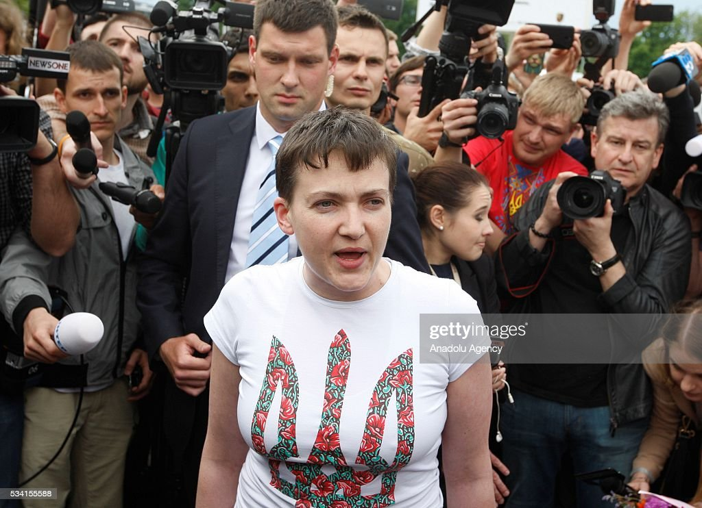 Ukrainian military pilot Nadiya Savchenko is surrounded by media upon her arrival at Kyiv Boryspil Airport on May 25, 2016 in Boryspil, Ukraine.