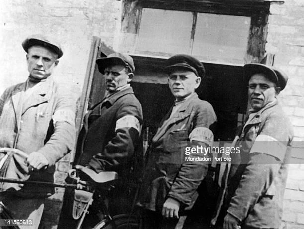 Ukrainian militiamen of German police posing September 1942