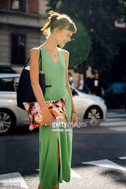 Ukrainian model Irina Kravchenko exits the Etro show during the Milan Fashion Week Spring/Summer 16 on September 25 2015 in Milan Italy Irina wears a...