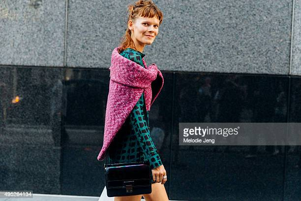 Ukrainian model Irina Kravchenko exits the Marc Jacobs show at Ziegfeld Theater on September 17 2015 in New York City Irina keeps the greasy messy...