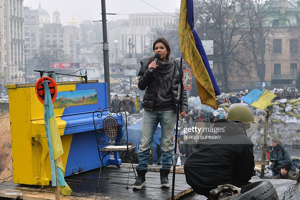 Ukrainian musician and singer Ruslana Lyzhychko known as Ruslana, a World Music Award winner and MTV Europe Music Award nominated artist, performs on an anti-government barricade in central Kiev during a concert organized for the activists and the policemen on February 10, 2014. Ruslana also won the Eurovision Song Contest in 2004.