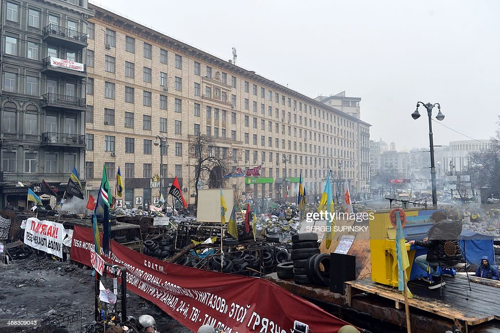 Ukrainian musician Ruslana Lyzhychko known as Ruslana, a World Music Award winner and MTV Europe Music Award nominated artist, performs on an anti-government barricade in central Kiev during a concert organized for the activists and the policemen on February 10, 2014. Ruslana also won the Eurovision Song Contest in 2004.