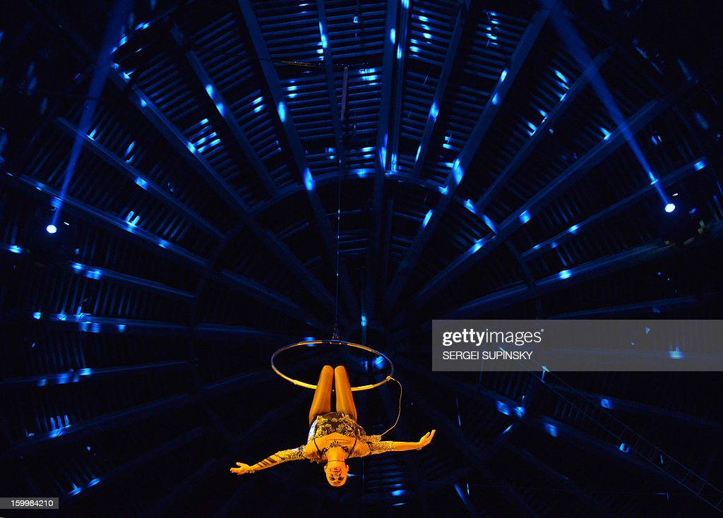 A Ukrainian National Circus artist performs during presentation of the new programme in Kiev on January 24, 2013.