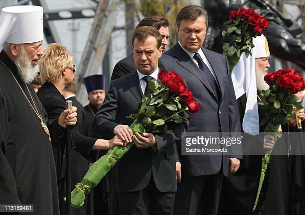 Ukrainian Orthodox Metropolitan Vladimir Russian President Dmitry Medvedev Ukrainian President Viktor Yanukovych and Russian Orthodox Church...