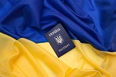 Ukrainian passport on the flag of Ukraine
