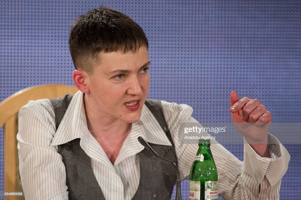 Ukrainian pilot and Ukrainian parliament member Nadiya Savchenko holds a press conference in Kiev, Ukraine, on May 27, 2016.