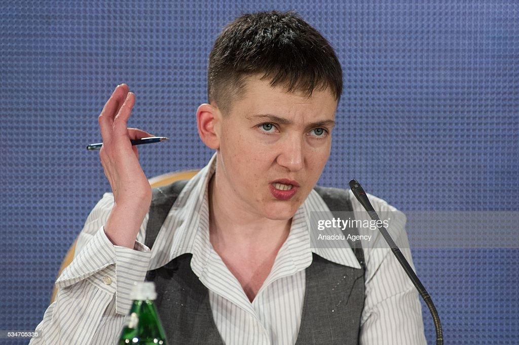 Ukrainian pilot and Ukrainian parliament member Nadiya Savchenko holds a press conference in Kiev, Ukraine, on May 27, 2016.