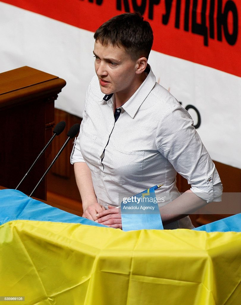 Ukrainian pilot and Ukrainian parliament member Nadiya Savchenko delivers a speech to lawmakers during a session of Parliament, in Kiev, Ukraine on May 31, 2016.