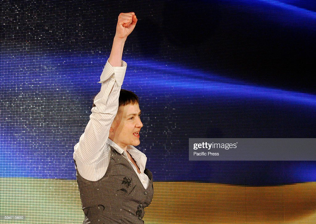 Ukrainian pilot Nadiya Savchenko, who was freed from prison in Russia reacts after her press conference in Kiev, Ukraine. Savchenko returned home as she was exchanged for two alleged Russian soldiers, Aleksander Aleksandrov and Yevgeny Yerofeyev on May 25.