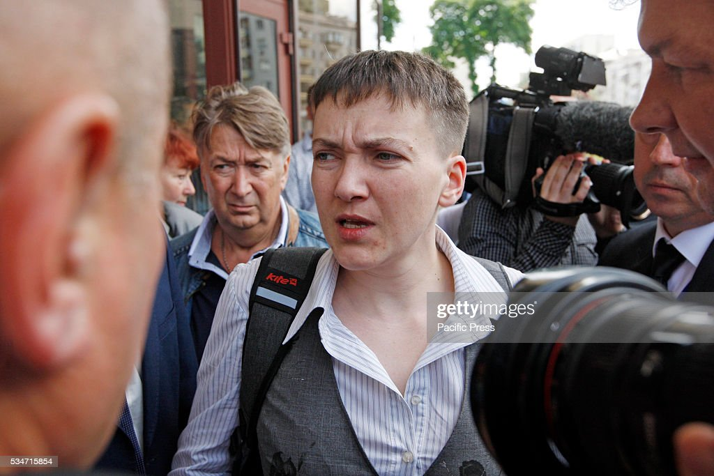 Ukrainian pilot Nadiya Savchenko, who was freed from prison in Russia answers questions of journalists after her press conference in Kiev, Ukraine. Savchenko returned home as she was exchanged for two alleged Russian soldiers, Aleksander Aleksandrov and Yevgeny Yerofeyev on May 25.