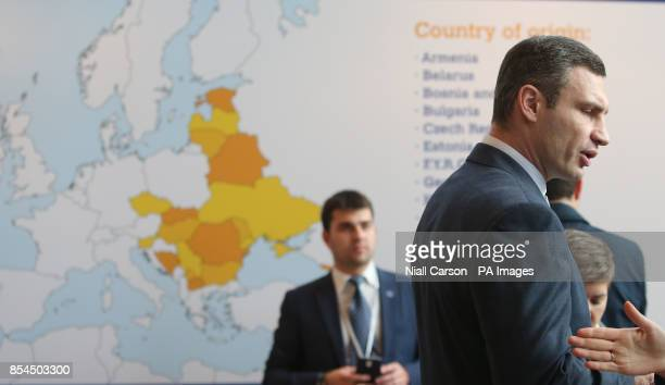Ukrainian politician and former heavyweight boxer Vitali Klitschko arriving at a meeting of the European People's Party Congress at the Convention...