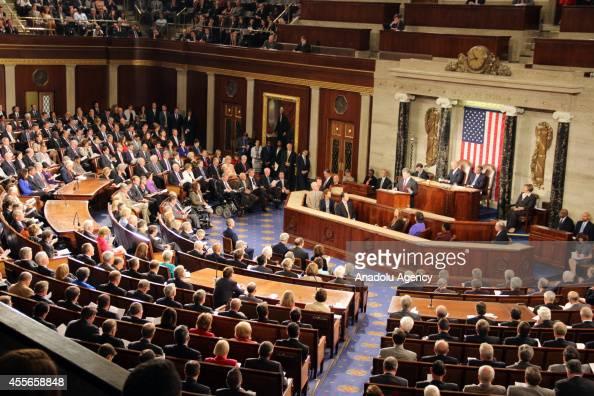 Ukrainian President Petro Poroshenko addresses a joint meeting of US Congress at the Capitol in Washington United States on September 18 2014