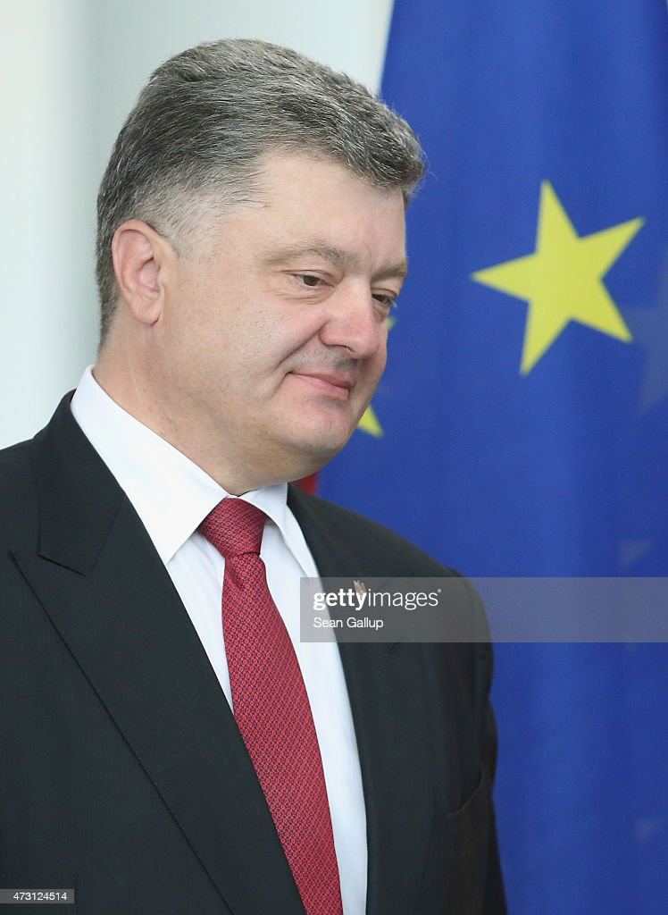 Ukrainian President Petro Poroshenko and German Chancellor Angela Merkel (not pictured) arrive to give statements to the media prior to talks at the Chancellery on May 13, 2015 in Berlin, Germany. The two leaders are meeting on the heels of a meeting between Russian President Vladimir Putin and U.S. Secretary of State John Kerry the day before in ongoing talks over the confict in the Donbas region of eastern Ukraine.
