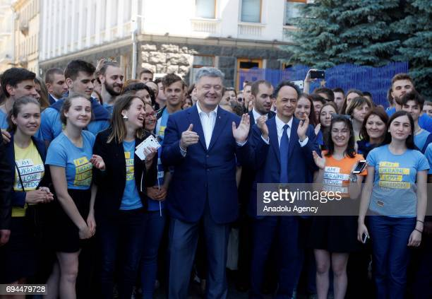 Ukrainian President Petro Poroshenko and the EU Delegation to Ukraine Hugues Mingarelli attend a ceremony of start to a symbolic 'visafree timer' at...