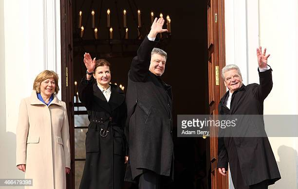 Ukrainian President Petro Poroshenko arrives at Bellevue Presidential Palace with German President Joachim Gauck Gauck's partner Daniela Schadt and...