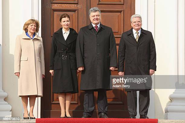 Ukrainian President Petro Poroshenko arrives at Bellevue Presidential Palace with German President Joachim Gauck Gauck's partner Daniela Schadt and...
