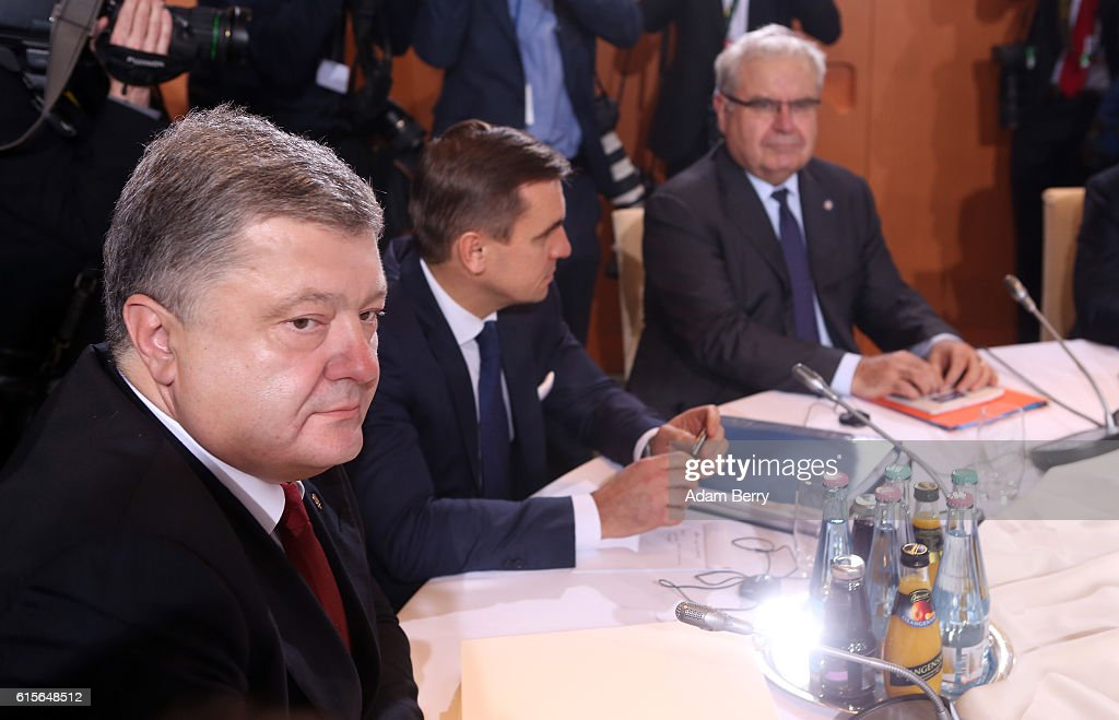 Ukrainian President Petro Poroshenko attends a meeting to discuss the Ukrainian peace process at the German federal Chancellery on October 19, 2016 in Berlin, Germany. The leaders of Russia, Ukraine, France and Germany, known as the Normandy Four, met in Berlin to discuss implementation of the peace plan known as the Minsk Protocol, a roadmap for resolving the conflict in Ukraine after Russian forces invaded in 2014 and annexed the peninsula of Crimea. The United States has threatened renewed sanctions on Russia if the country did not either implement the plan in the coming months or arrive at a plan on how to do so.