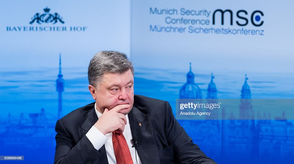 Ukrainian President Petro Poroshenko attends the 2016 Munich Security Conference at the Bayerischer Hof hotel on February 13, 2016 in Munich, Germany. The annual event brings together government representatives and security experts from across the globe and this year the conflict in Syria will be the main issue under discussion.