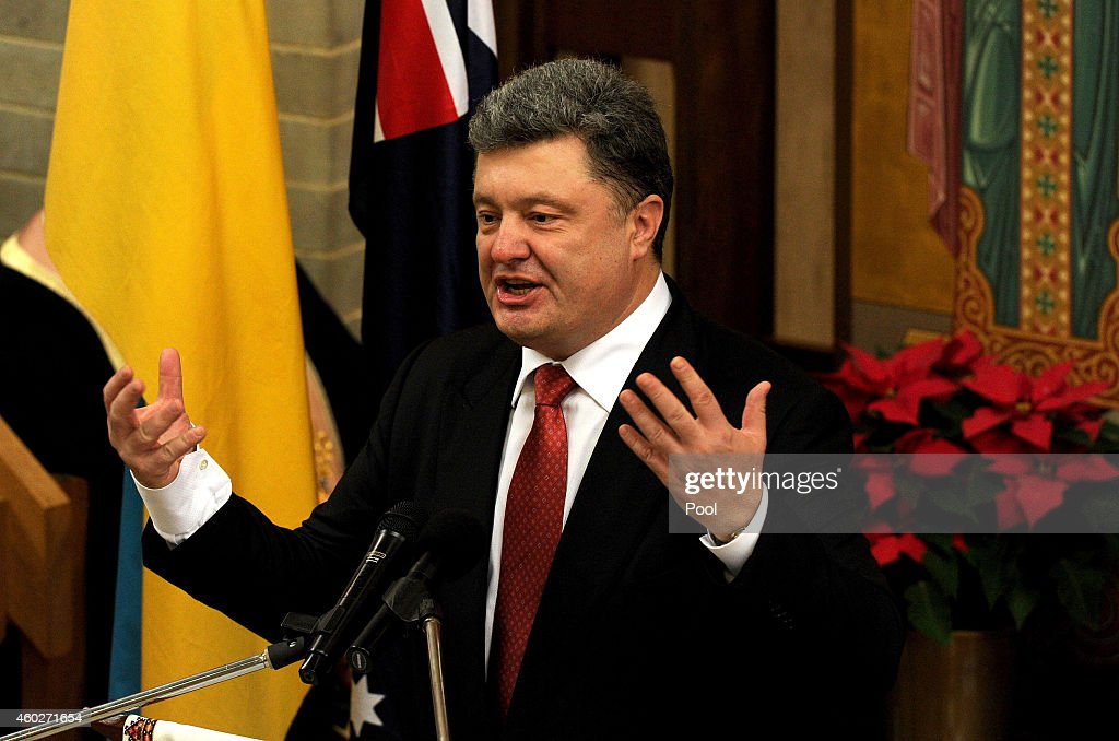 Ukrainian President <a gi-track='captionPersonalityLinkClicked' href=/galleries/search?phrase=Petro+Poroshenko&family=editorial&specificpeople=549382 ng-click='$event.stopPropagation()'>Petro Poroshenko</a> delivers a speech during an ecumenical church service held at Ukrainian Greek Eparchy of Saints Peter and Paul of Melbourne on December 11, 2014 in Melbourne, Australia. Ukrainian President <a gi-track='captionPersonalityLinkClicked' href=/galleries/search?phrase=Petro+Poroshenko&family=editorial&specificpeople=549382 ng-click='$event.stopPropagation()'>Petro Poroshenko</a> is in Australia for a two-day visit, with discussions about Malaysia Airlines flight MH17 among the top agenda items.