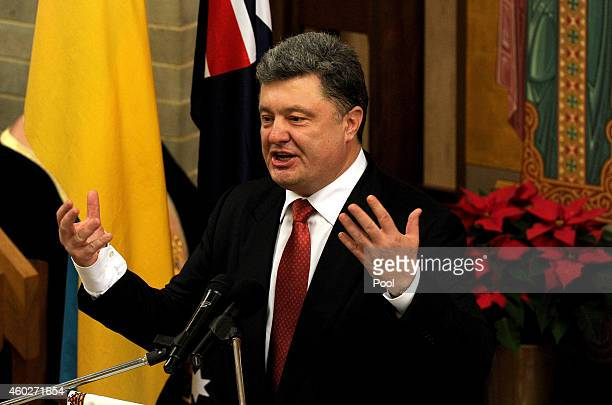 Ukrainian President Petro Poroshenko delivers a speech during an ecumenical church service held at Ukrainian Greek Eparchy of Saints Peter and Paul...