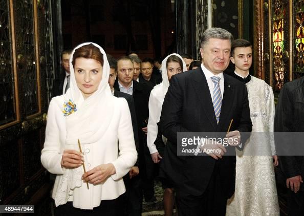 Ukrainian President Petro Poroshenko his wife Maryna Poroshenko and their children attend the Easter Mass at Vladimirsky Cathedral in Kiev Ukraine on...