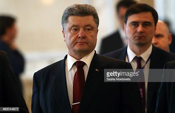 Ukrainian President Petro Poroshenko is seen during a press conference after peace talks over the crisis in the Ukraine on February 12 2015 inMinsk...