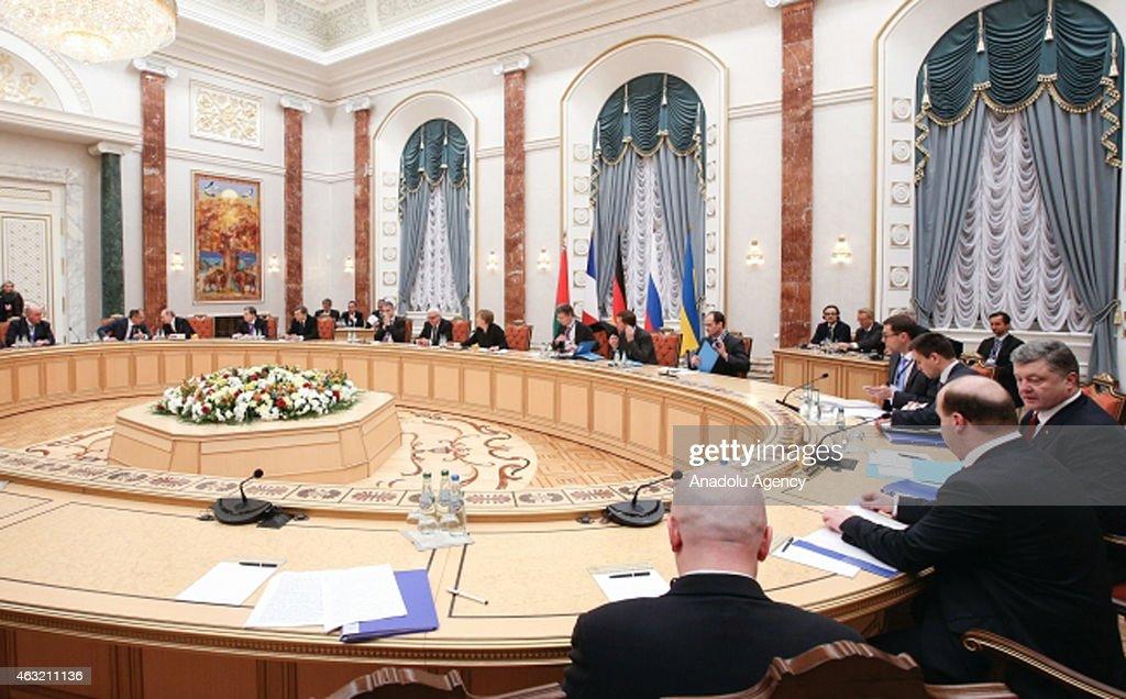 Ukrainian President Petro Poroshenko Russian President Vladimir Putin French President Francois Hollande German Chancellor Angela Merkel and and...