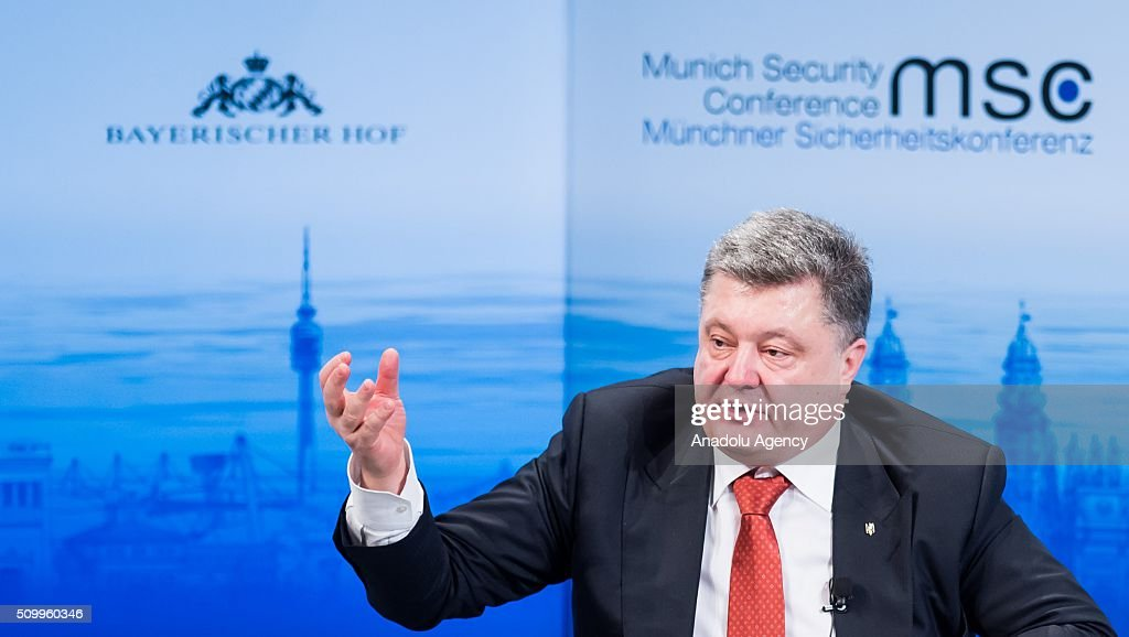Ukrainian President Petro Poroshenko speaks at the 2016 Munich Security Conference at the Bayerischer Hof hotel on February 13, 2016 in Munich, Germany. The annual event brings together government representatives and security experts from across the globe and this year the conflict in Syria will be the main issue under discussion.