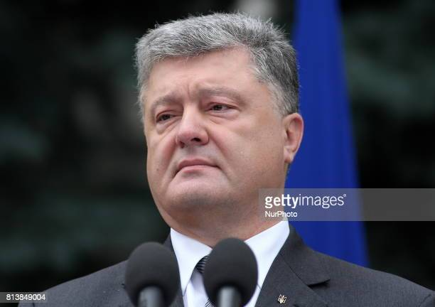 Ukrainian President Petro Poroshenko speaks during a joint news conference with European Council President Donald Tusk and European Commission...