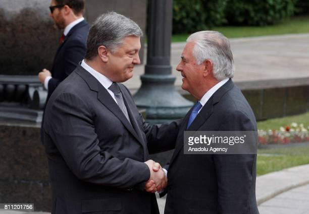 Ukrainian President Petro Poroshenko welcomes US Secretary of State Rex Tillerson before their meeting in Kiev Ukraine on July 09 2017