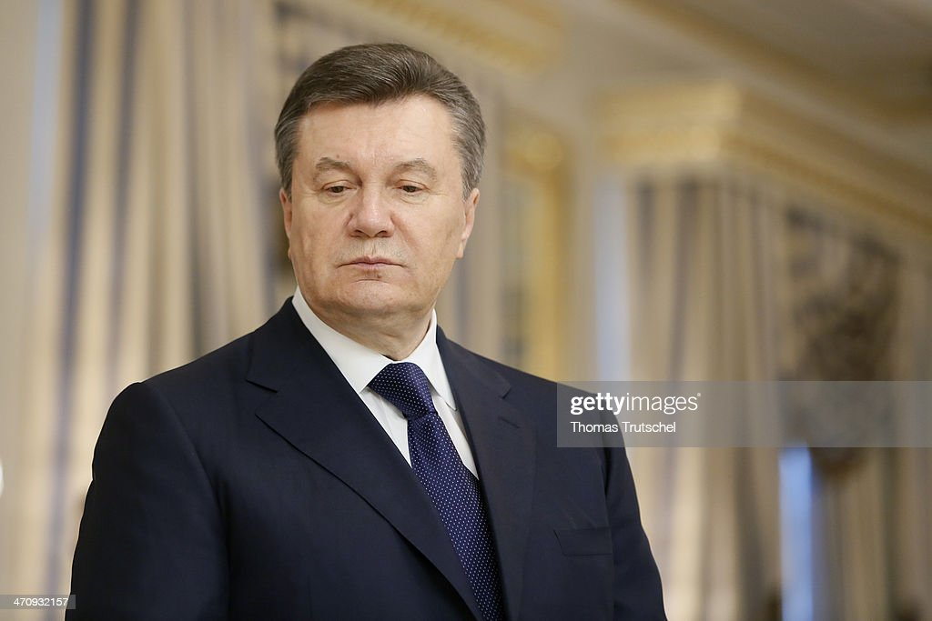 Ukrainian President <a gi-track='captionPersonalityLinkClicked' href=/galleries/search?phrase=Viktor+Yanukovych&family=editorial&specificpeople=717883 ng-click='$event.stopPropagation()'>Viktor Yanukovych</a> before the signing of the Agreement in the Presidential Palace on February 21, 2014 in Kiev, Ukraine. Steinmeier and his counterparts from France and Poland meet with President Yanukovych and other government officials and hold separate talks with the opposition. The three ministers will then fly to Brussels for a crisis meeting with EU foreign policy chief Catherine Ashton and other EU foreign ministers.