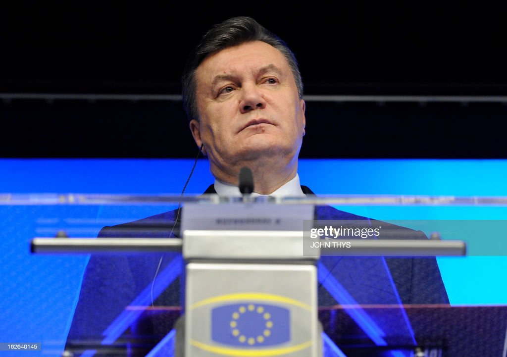 Ukrainian President Viktor Yanukovych gives a press conference after an EU-Ukraine Summit at the EU Headquarters in Brussels on February 25, 2013. Viktor Yanukovych arrived in Brussels for a summit seen as 'a defining moment' in a long-delayed bid to seal a political and trade pact with the EU anchoring the ex-Soviet state closer to the West.