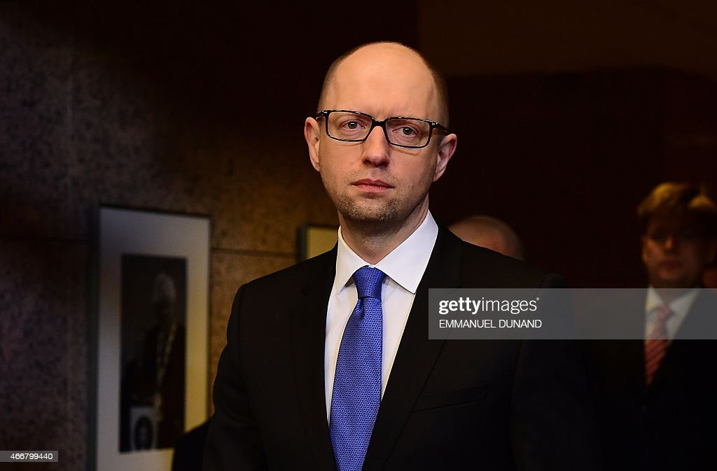Ukrainian Prime Minister <a gi-track='captionPersonalityLinkClicked' href=/galleries/search?phrase=Arseniy+Yatsenyuk&family=editorial&specificpeople=4204919 ng-click='$event.stopPropagation()'>Arseniy Yatsenyuk</a> arrives to talk to the press after attending meetings at the European Council, in Brussels on March 19, 2015.