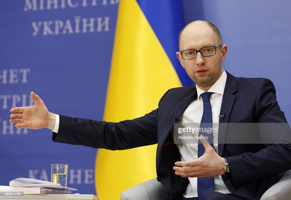Ukrainian Prime Minister <a gi-track='captionPersonalityLinkClicked' href=/galleries/search?phrase=Arseniy+Yatsenyuk&family=editorial&specificpeople=4204919 ng-click='$event.stopPropagation()'>Arseniy Yatsenyuk</a> speaks to media during a press conference in Kiev, Ukraine, on December 30, 2014.