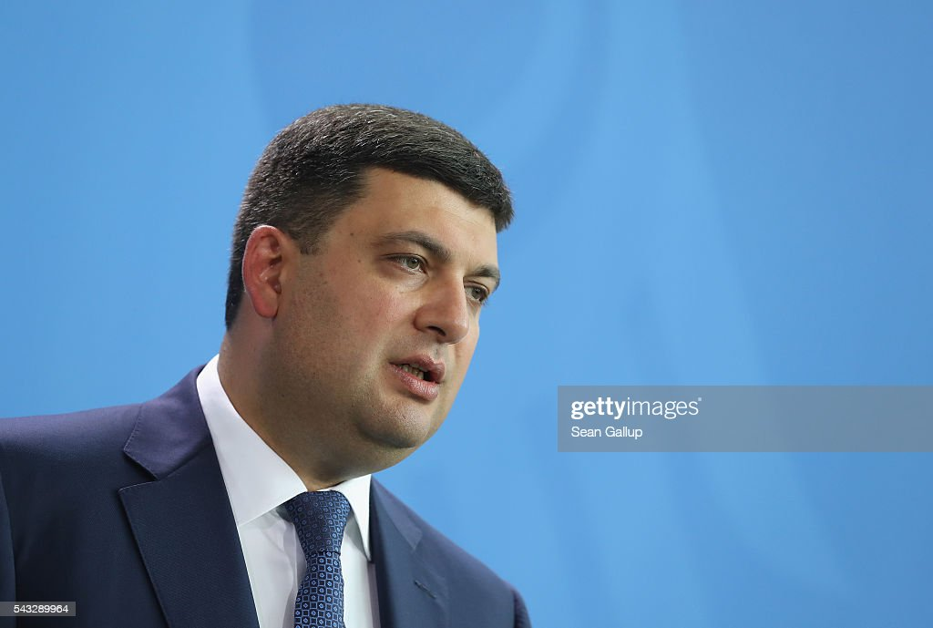 Ukrainian Prime Minister <a gi-track='captionPersonalityLinkClicked' href=/galleries/search?phrase=Volodymyr+Groysman&family=editorial&specificpeople=12954124 ng-click='$event.stopPropagation()'>Volodymyr Groysman</a> and German Chancellor Angela Merkel (not pictured) speak to the media after talks at the Chancellery on June 27, 2016 in Berlin, Germany. Groysman is on his first official visit to Germany since he took office.