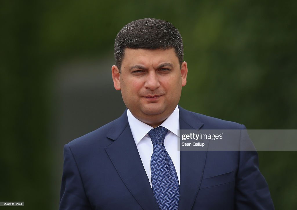 Ukrainian Prime Minister <a gi-track='captionPersonalityLinkClicked' href=/galleries/search?phrase=Volodymyr+Groysman&family=editorial&specificpeople=12954124 ng-click='$event.stopPropagation()'>Volodymyr Groysman</a> arrives at the Chancellery to meet with German Chancellor Angela Merkel on June 27, 2016 in Berlin, Germany. Groysman is on his first official visit to Germany since he took office.