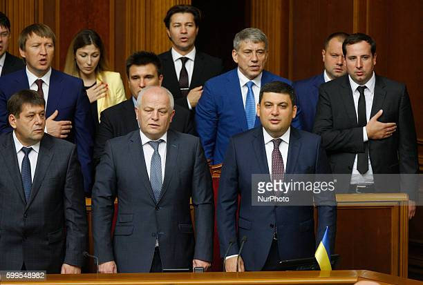 Ukrainian Prime Minister Volodymyr Groysman at the opening of a new session of the Ukrainian Parliament in Kiev Ukraine 06 September2016