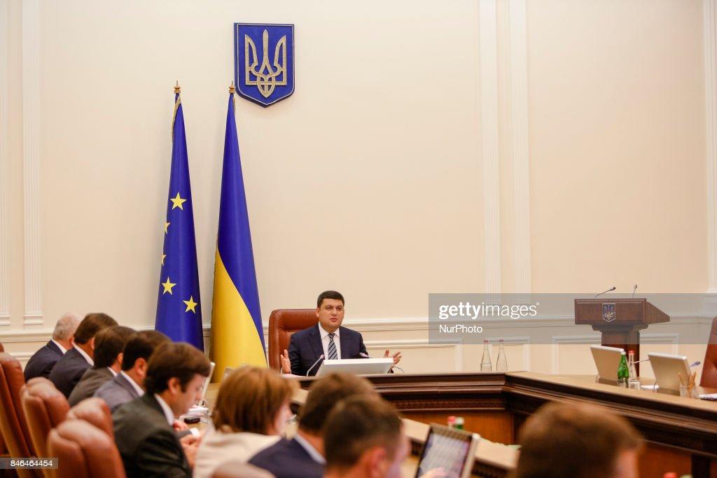 Ukrainian Prime Minister Volodymyr Groysman during the Ukrainian government gathered for its session in Kiev, Ukraine on September 13, 2017.