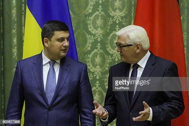 Ukrainian Prime Minister Volodymyr Groysman talks to Minister for Foreign Affairs of Germany FrankWalter Steinmeier during their meeting in Kiev...